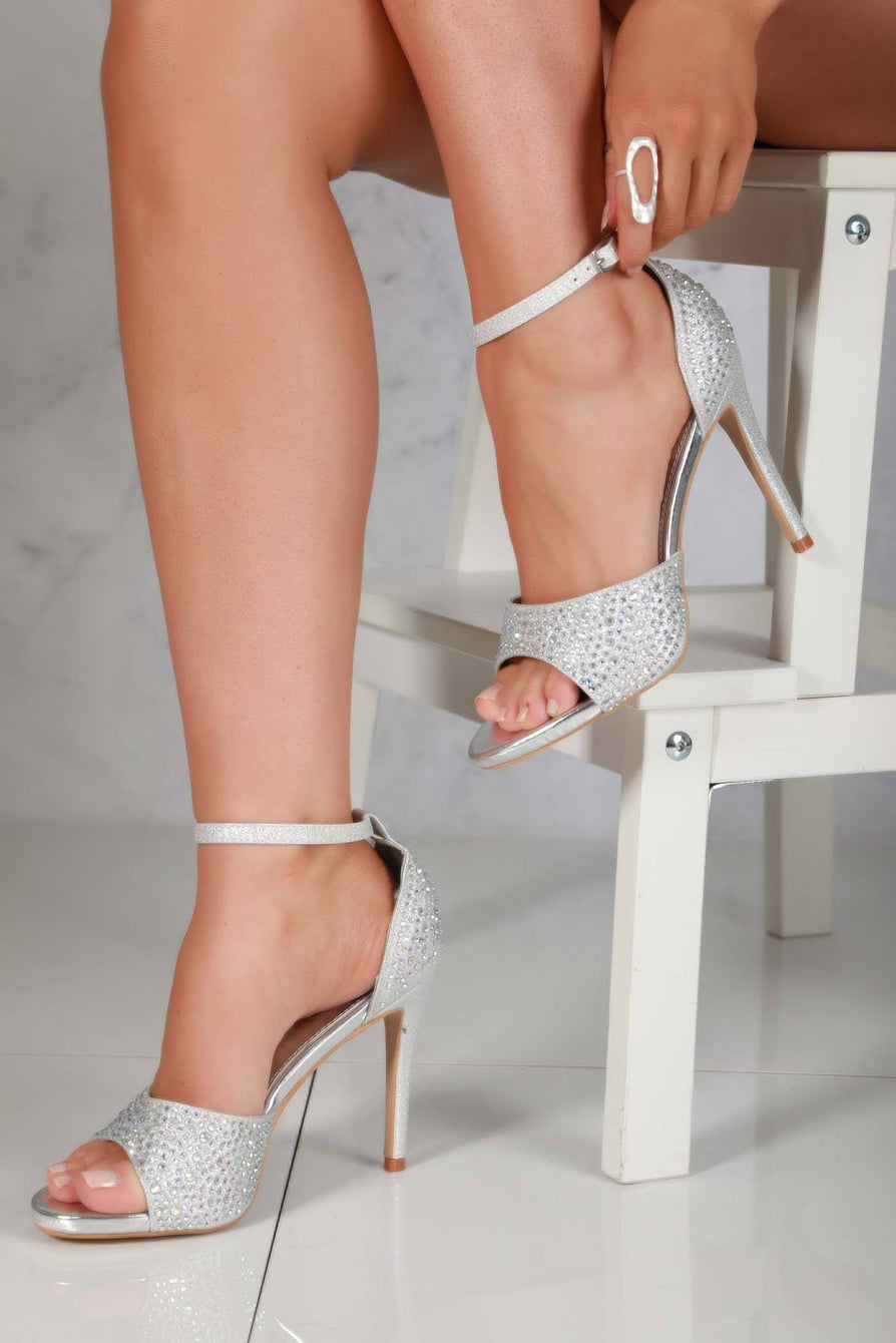 Garbo Anklestrap Diamante Stiletto heel in Silver