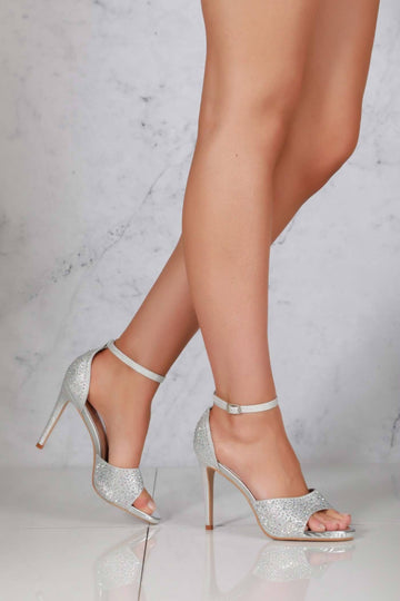 Garbo Anklestrap Diamante Sandal in Silver