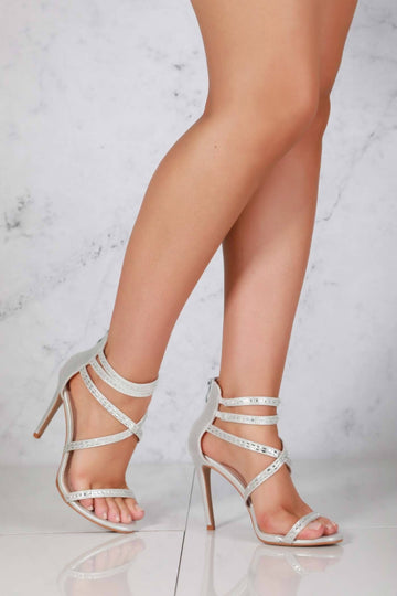 Desiree diamante criss cross strappy sandal in Silver