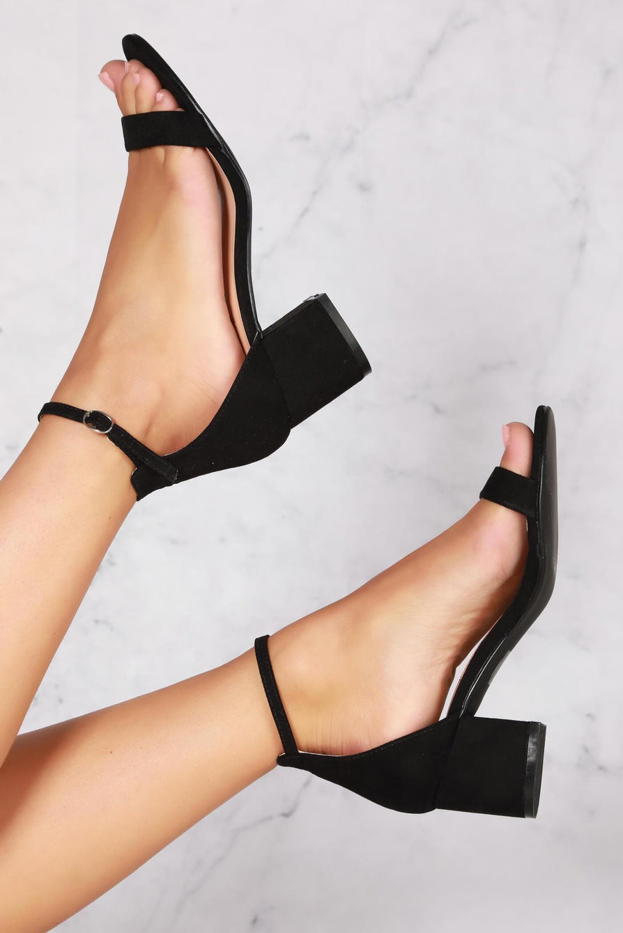 Karley barely there ankle strap block heel sandal in Black Suede