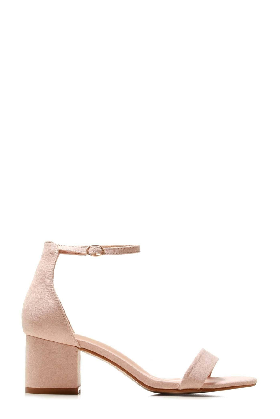 Karley barely there ankle strap block heel sandal in Nude Suede