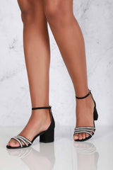 Block Heel 3 Dia Straps Sandal in Black