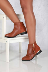 Ankleboot With Ring Zip Detal in Tan Matt
