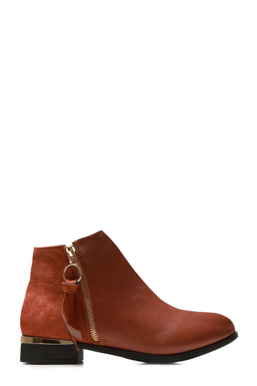 Franky Ankleboot With Ring Zip Detal in Tan Matt Clearance Miss Diva TAN MATT 3
