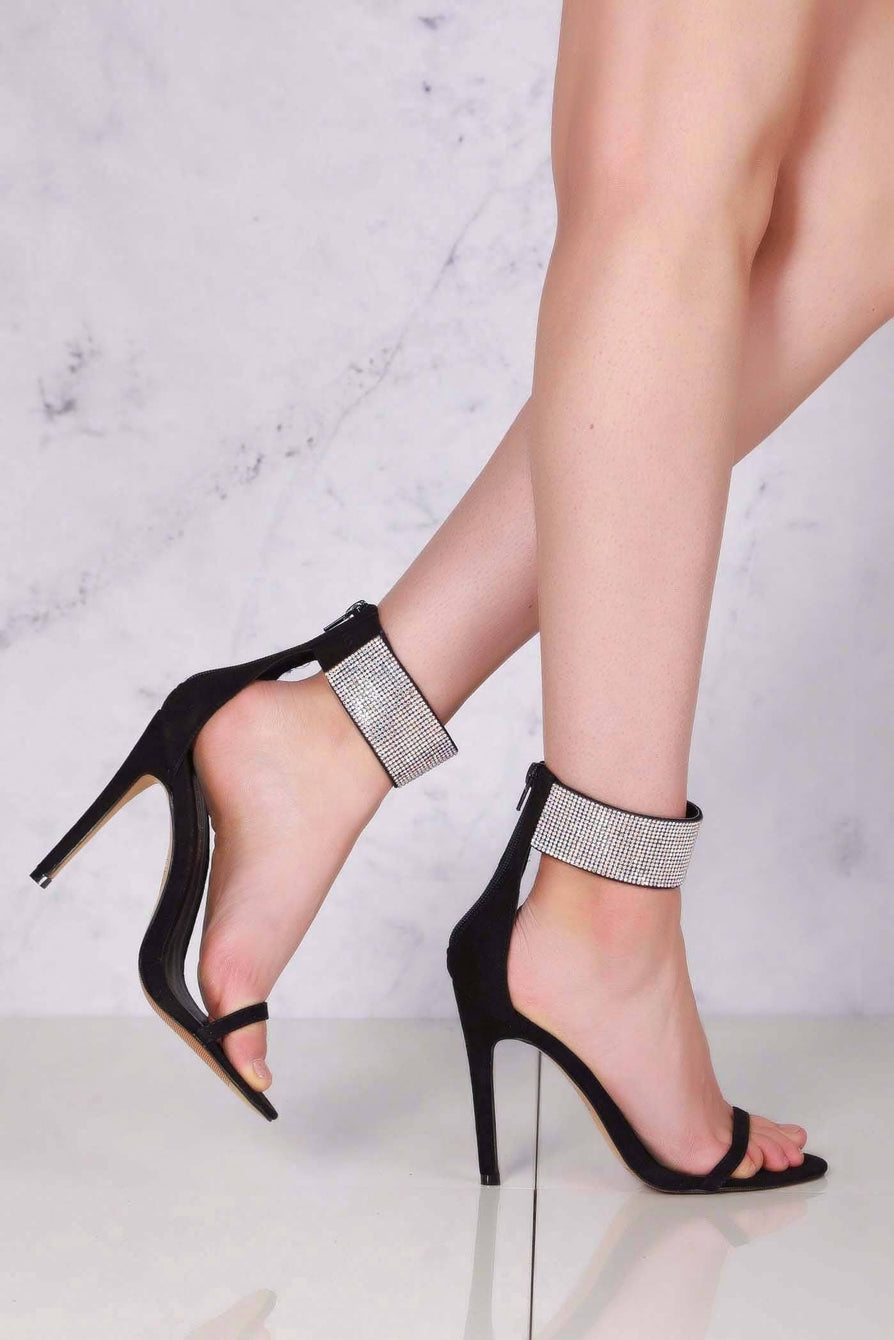 Carmel diamante band ankle strap sandal in Black Suede