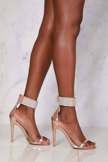 6d2130155054 Carmel diamante band ankle strap sandal in Rose Gold