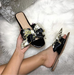 Paris Chain Print Silk Bow Open Toe Flat Sliders in Black Flats Miss Diva