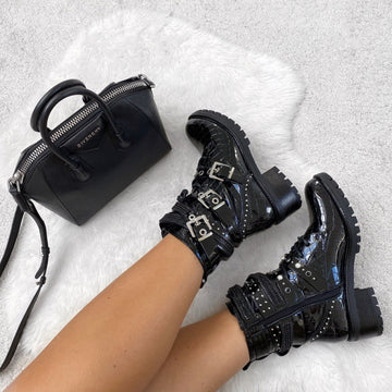 Hailey Diamante Crossover Laceup Biker Boot in Black Croc