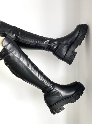 Krissy Stretch Panel OTK Boot in Black Matt