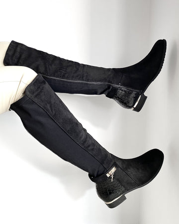 Daphine Knee High Lock Detail Boot in Black Suede