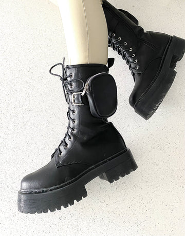 Hypno Side Pocket Lace Up Biker Boot in Black Matt