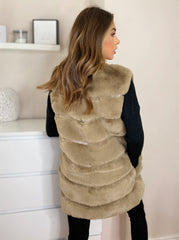 Faux Fur Gillet in Taupe