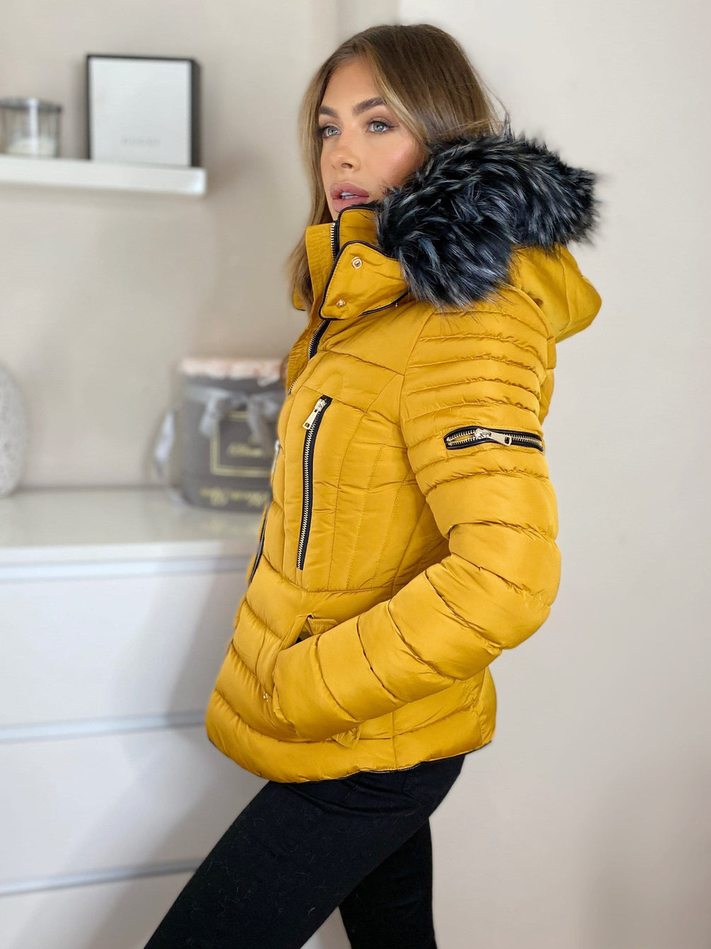 Sarah Zip Up Puffa Jacket With Faux Fur Hood in Mustard Coats Miss Diva
