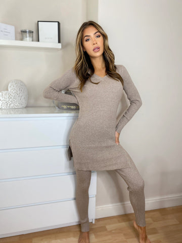 Ribknit Dress & Legging Set in Beige