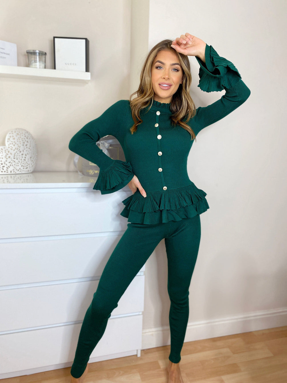 Maryam Knitted Frill Top & Legging Set in Dark Green Loungewear Sets Miss Diva Dark Green One Size