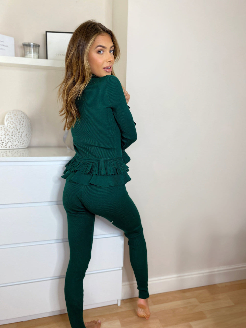 Maryam Knitted Frill Top & Legging Set in Dark Green Loungewear Sets Miss Diva