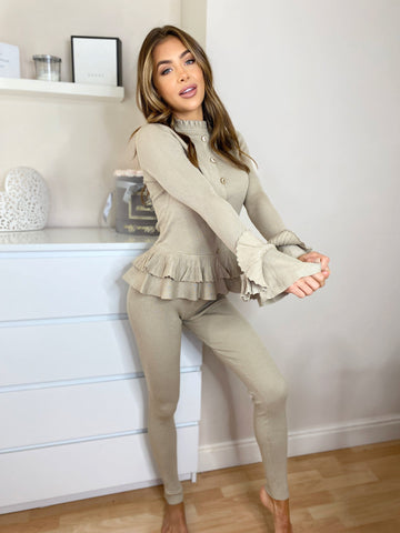 Knitted Frill Top & Legging Set in Taupe