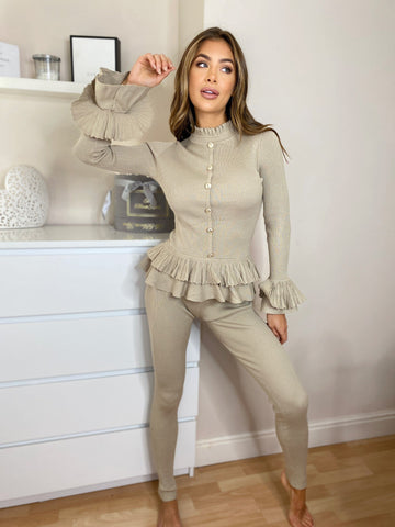Maryam  Knitted Frill Top & Legging Set in Taupe