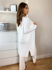 Rib Knit Vest Cardigan & Culotte 3 PC Lounge Set in White