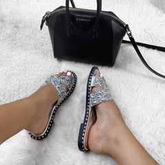 Santorini Gem Stone Cut Out Open Toe Sliders With Stud Trim Sole in Silver Flats Miss Diva