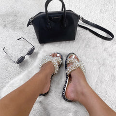 Aloha Open Toe Criss Cross Pearl Front Silver Stud Rim Detail Slider In Gold Flats Miss Diva