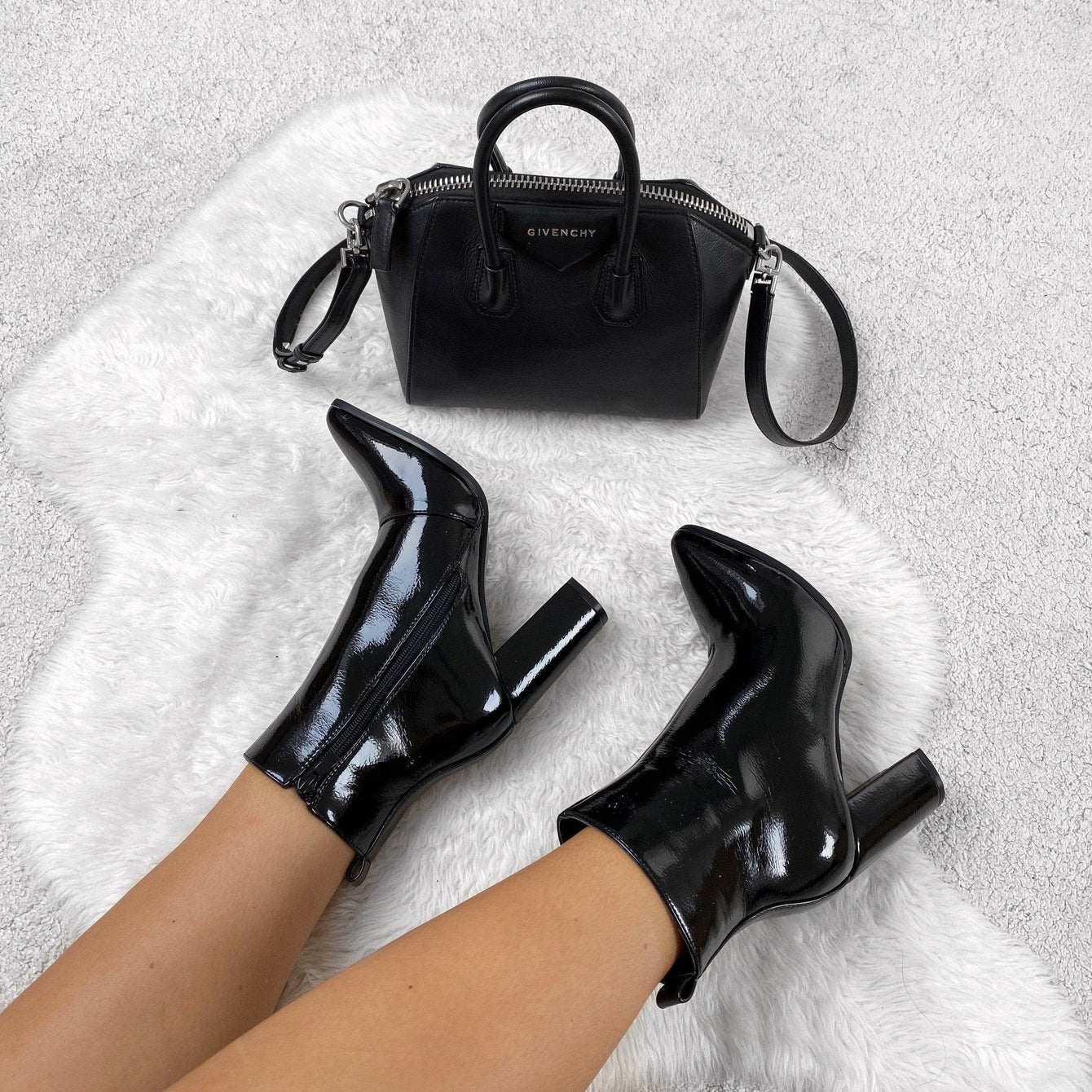 Pattie Pointed Toe Block Heel Boot in Black Patent Boots Miss Diva