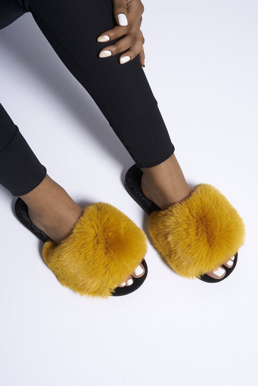 Tasha Fluffy Band Slider in Mustard Flats Miss Diva