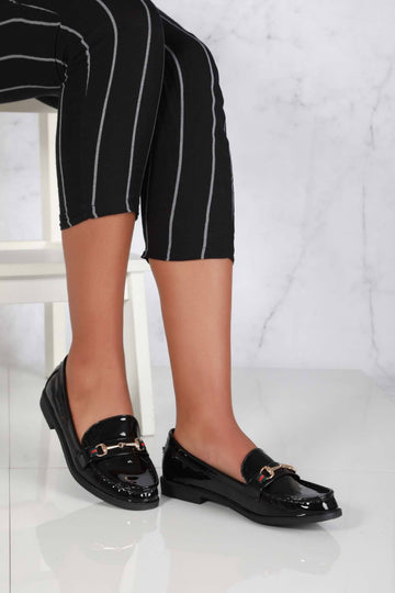 Lorenzo Flat Chain Detail Loafer in Black Patent Clearance Miss Diva