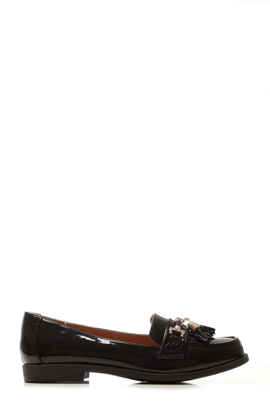 Lucy Horsebit Toggle Loafer in Black Patent
