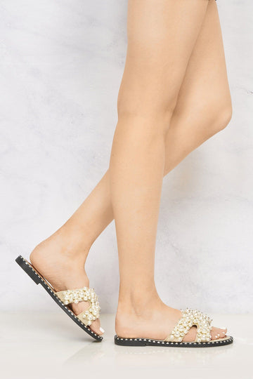 Aloha Open Toe Criss Cross Pearl Front Silver Stud Rim Detail Mule In Gold