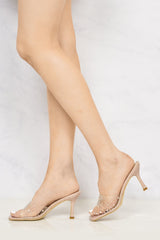 Kiki High Heel Perspex Diamante Detail Open Toe Mule In Nude Partywear Miss Diva