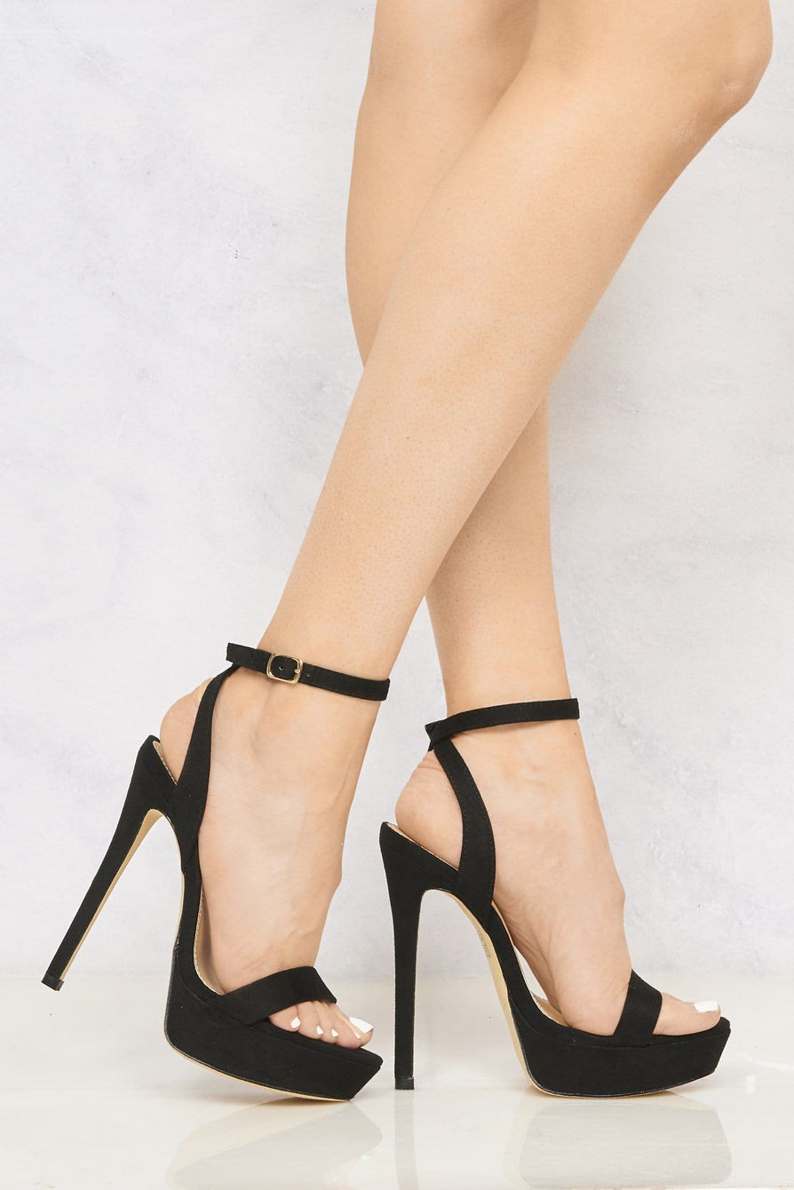 On The Rise Barely There Platform Anklestrap Sandal in Black Suede