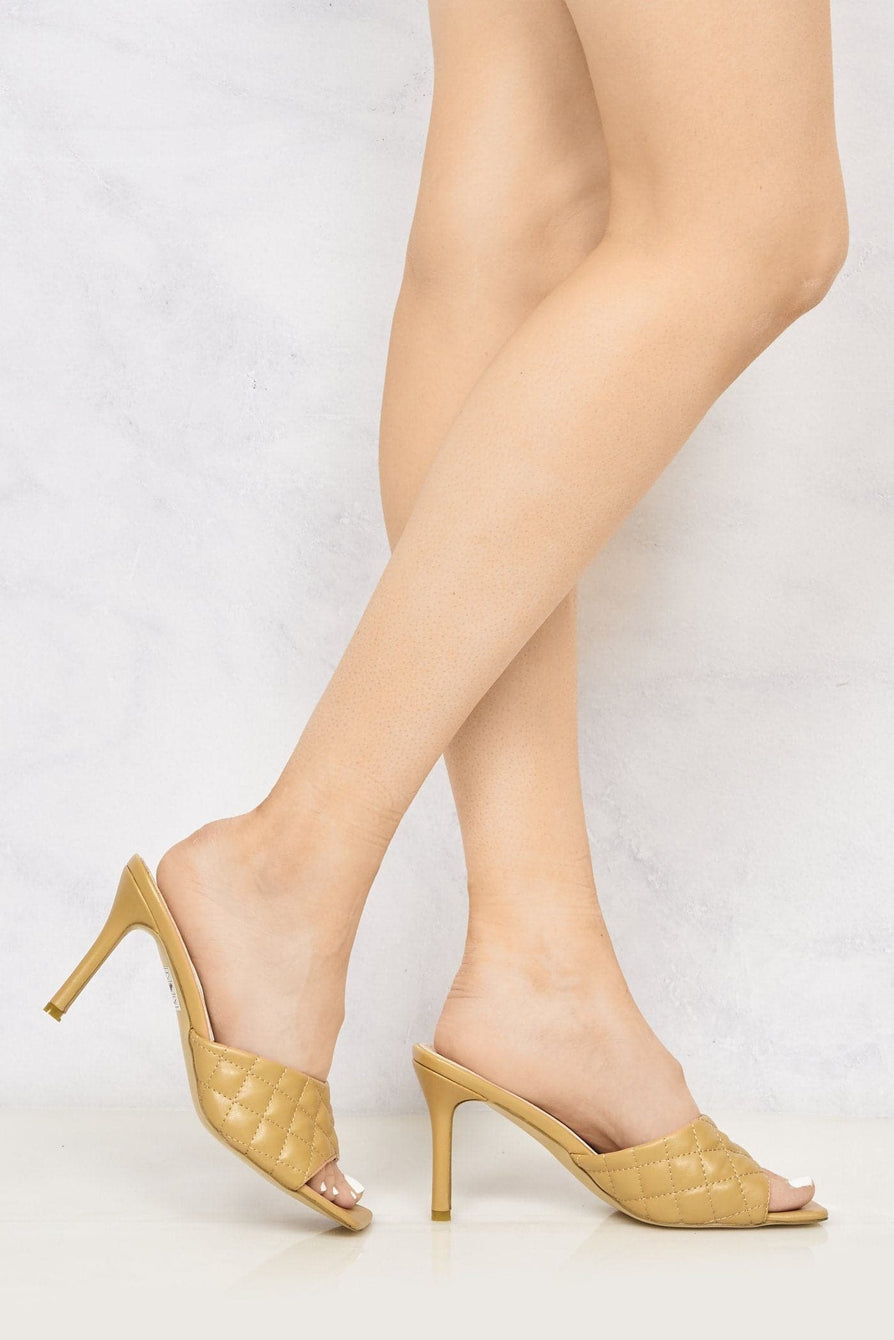Marian Square Toe Quilted Stiletto Heel Mule in Tan Heels Miss Diva Tan 3