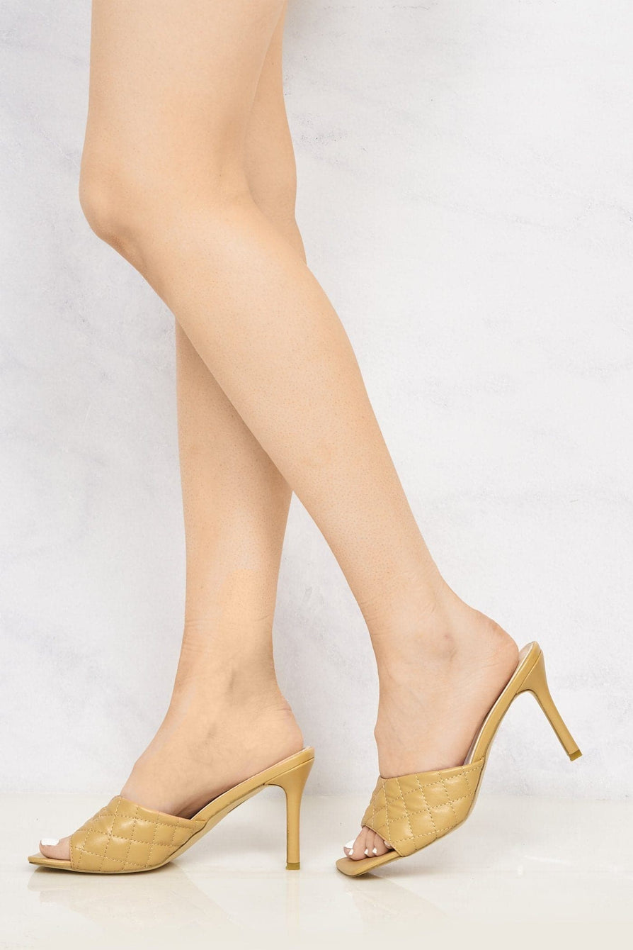 Marian Square Toe Quilted Stiletto Heel Mule in Tan Heels Miss Diva
