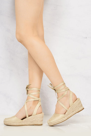 Maria Closed Toe Tie Up Espadrille Wedge in Nude