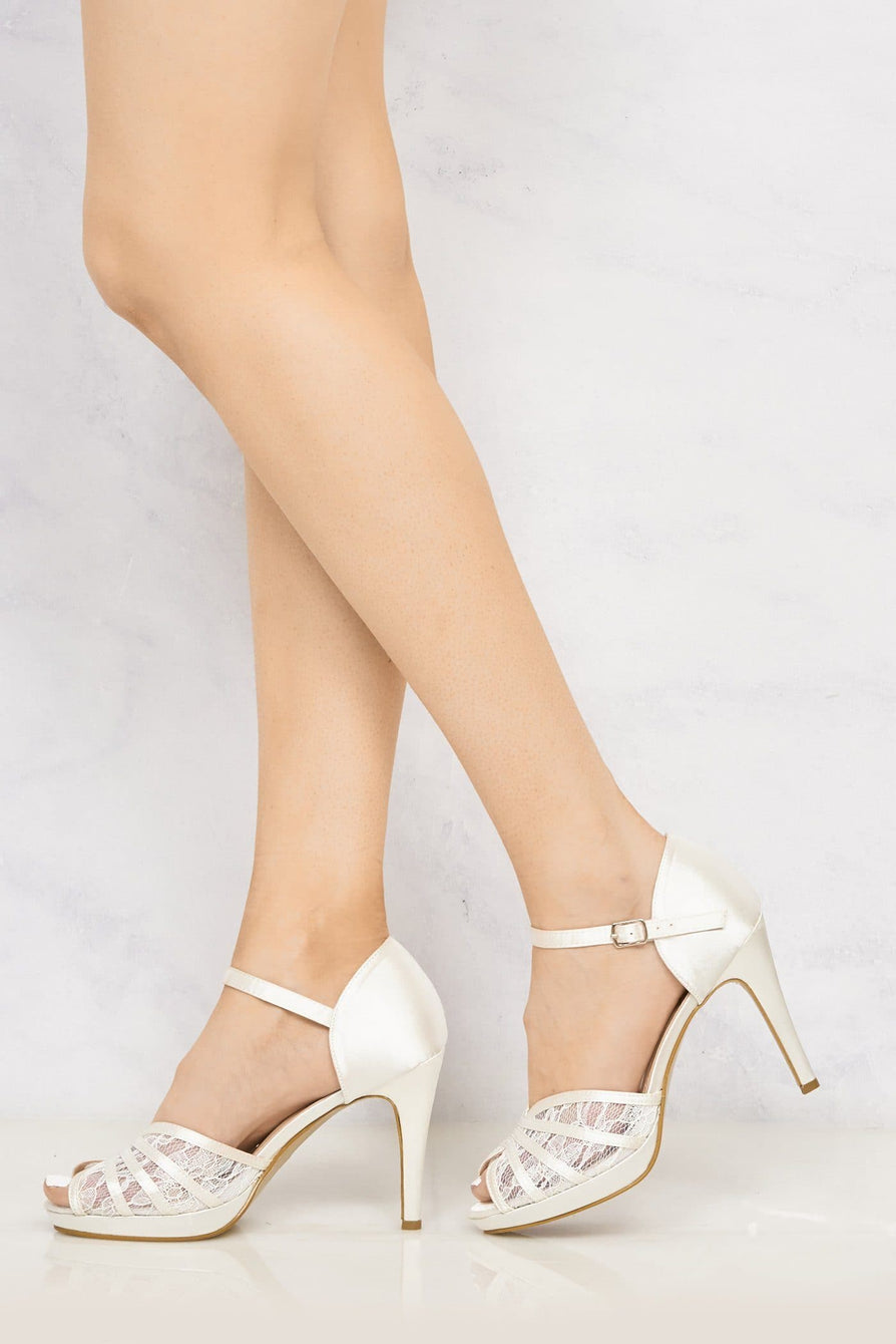 Kathryn High Heel Peep Toe Lace Detailing Ankle Strap In Ivory