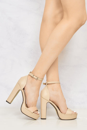 Moreell Barely There Platform Anklestrap Block Heel in Nude Matt