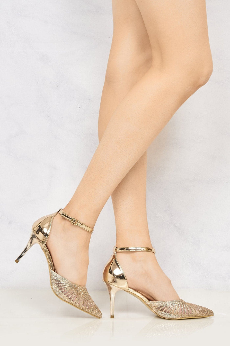 Singapore Mesh Diamante Ankle Strap Closed Toe High Metallic Heel In Champagne Partywear Miss Diva Champagne 3