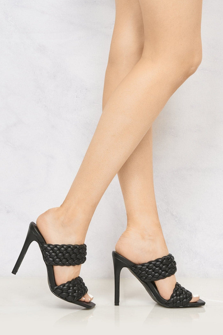 Vixen Open Toe Double Strap Plait Detail High Heel Mule in Black