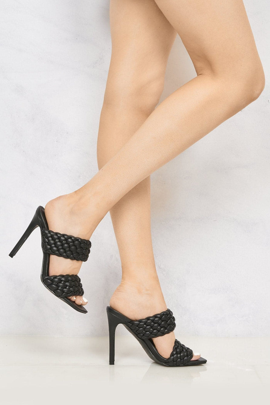 Vixen Open Toe Double Strap Plait Detail High Heel Mule in Black Heels Miss Diva