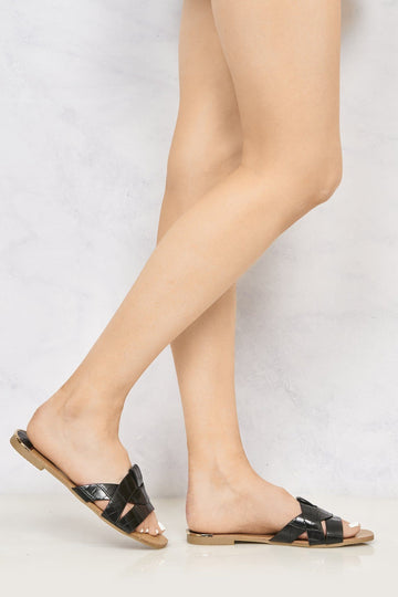 Cannes Snake Skin Detail Open Toe Low Heel Mules in Black Croc