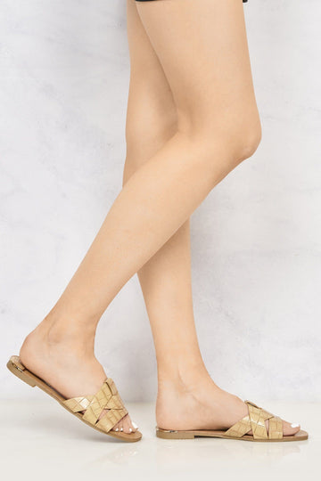Cannes Snake Skin Detail Open Toe Low Heel Mules in Beige Croc