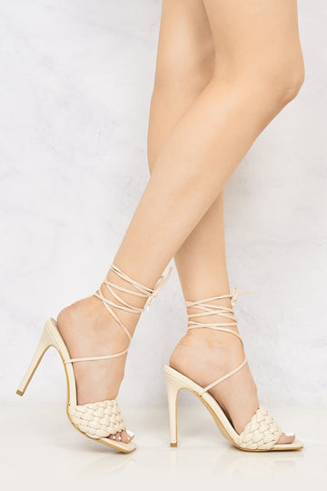 Lola Quilted Open Toe High Heel Lace Up Sandal in Nude