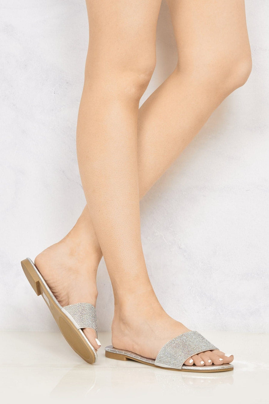 Clarissa Wide Front Diamante Open Toe Sliders in Silver
