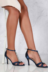 Momentous Satin Open Toe Flower in Navy Satin