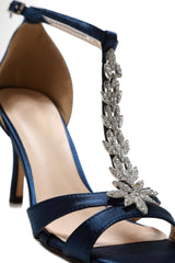 Satin Open Toe Flower in Navy Satin