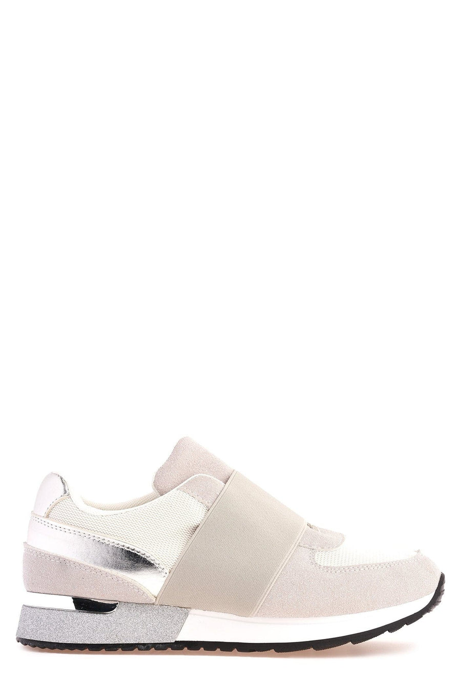 Meyeh Elastic Panel Gold Trim Trainer in White Trainers Miss Diva