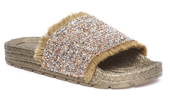 Bead Diamante Espadrille Slider in Gold
