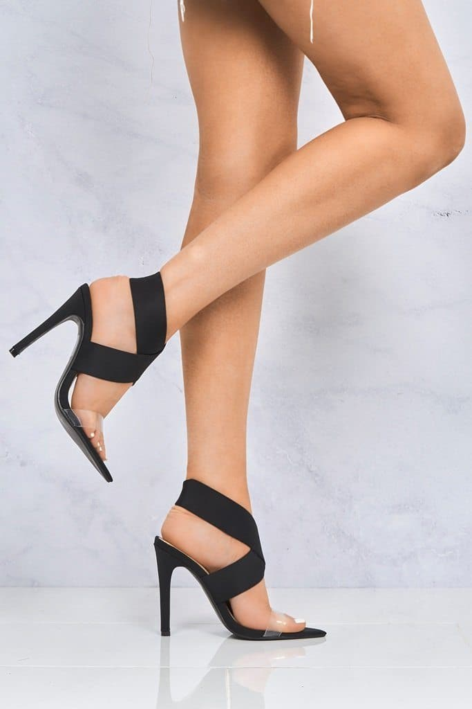 Pointed Perspex & Crossover Sandal in Black Lycra