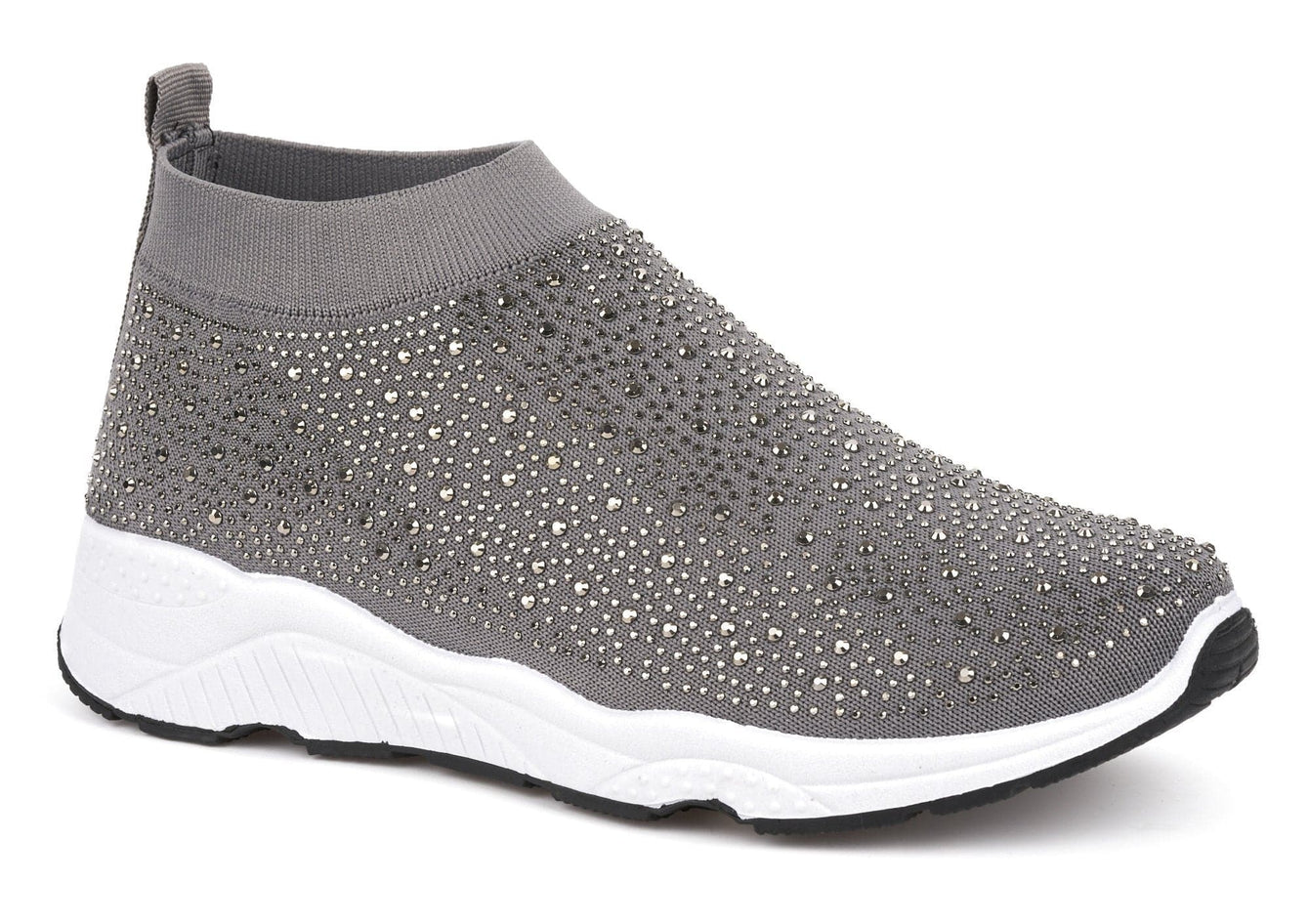 Alexa Studded Slip On Sock Trainer In Grey